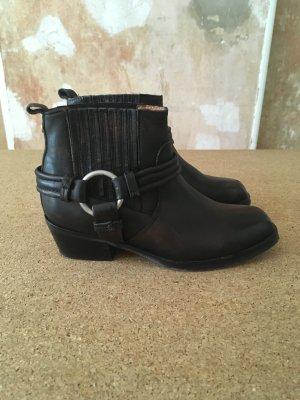 Diesel Western Booties black-brown leather