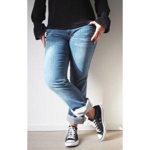 DIESEL Damen Jeans 31/34 Hellblau Bootcut Straight Stonewashed Denim Hose