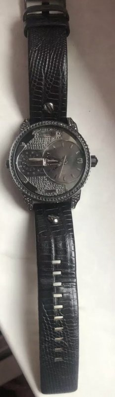 Diesel Montre avec bracelet en cuir noir