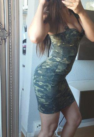Diesel Enges Kleid Militärgrün Damen