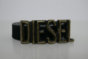 Diesel Leather Belt black-gold-colored leather