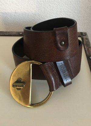Diesel Leather Belt dark brown-brown
