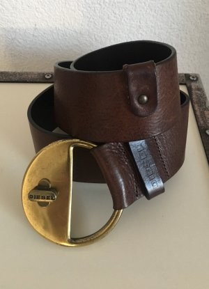 Diesel Cintura di pelle marrone scuro-marrone