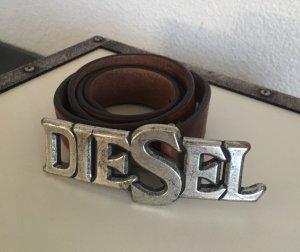 Diesel Cintura di pelle marrone scuro