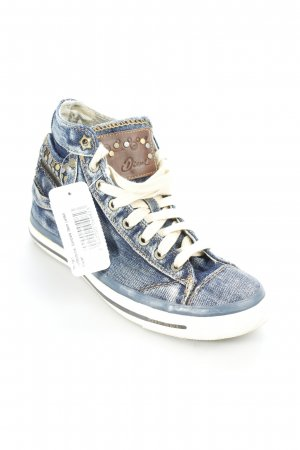 Diesel High Top Sneaker stahlblau-hellbeige extravaganter Stil