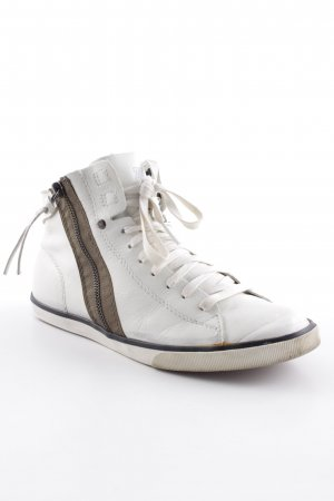 Diesel High Top Sneaker weiß-hellbraun Casual-Look