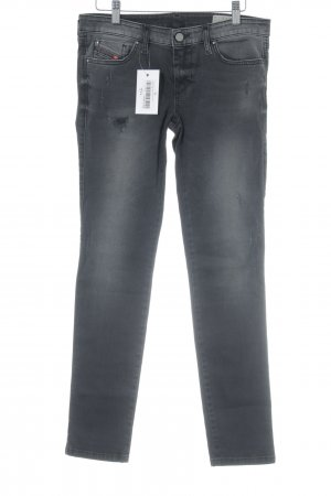 Diesel Low Rise Jeans black-silver-colored distressed style