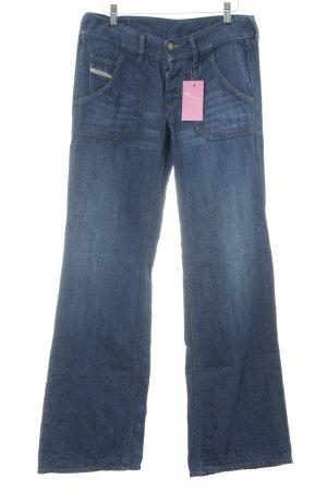 Diesel Industry Boot Cut Jeans blau Washed-Optik