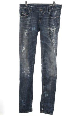 Diesel Industry Low Rise Jeans steel blue distressed style