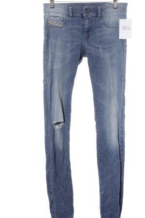 Diesel Industry Skinny Jeans kornblumenblau Destroy-Optik