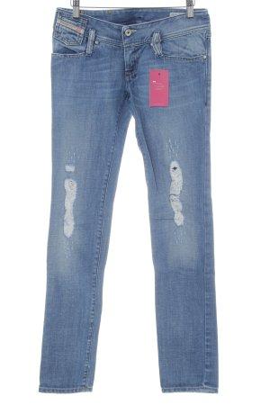 Diesel Industry Slim Jeans kornblumenblau Destroy-Optik
