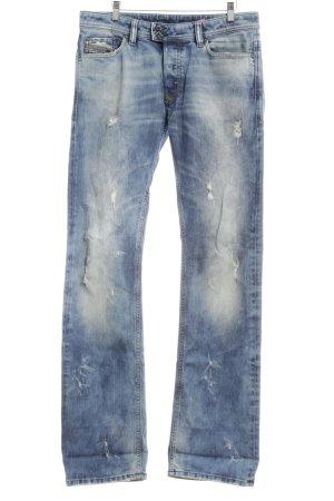 Diesel Industry Straight-Leg Jeans blassblau Destroy-Optik