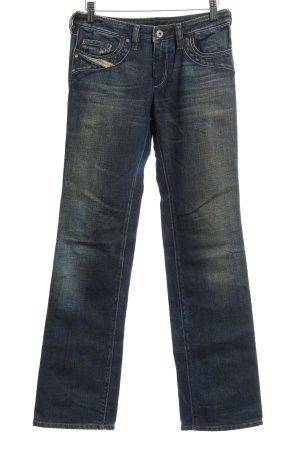 Diesel Industry Straight-Leg Jeans dunkelblau-olivgrün Casual-Look