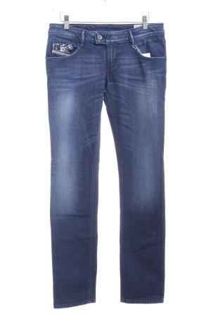 Diesel Industry Straight-Leg Jeans dunkelblau-weiß Farbverlauf Washed-Optik