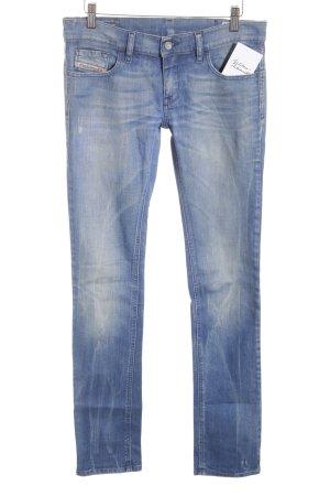 Diesel Industry Straight-Leg Jeans stahlblau Bleached-Optik