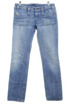 Diesel Industry Straight-Leg Jeans stahlblau Destroy-Optik