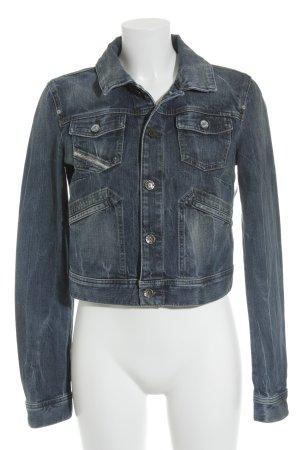 Diesel Jeansjacke stahlblau-weiß meliert Jeans-Optik