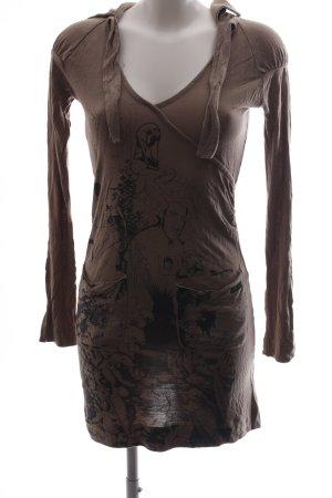Diesel Jerseykleid braun-schwarz abstraktes Muster Casual-Look