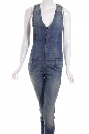 Diesel Jumpsuit blau-grüngrau Washed-Optik
