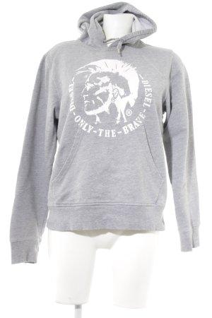 Diesel Kapuzensweatshirt grau-weiß Motivdruck sportlicher Stil