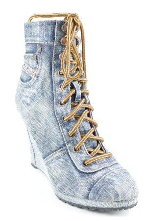 Diesel Keil-Pumps graublau-goldorange Jeans-Optik