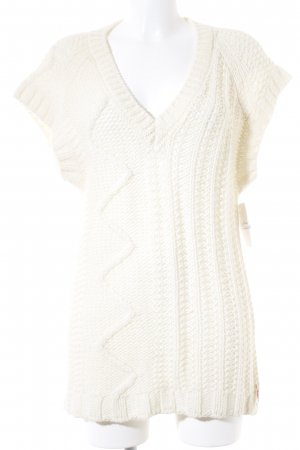 Diesel Short Sleeve Sweater cream loosely knitted pattern casual look