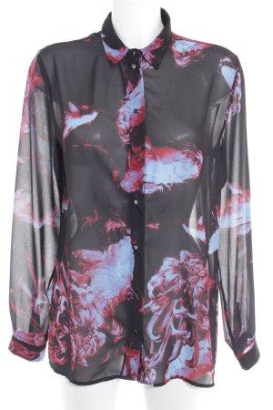 Diesel Langarm-Bluse schwarz Blumenmuster Elegant