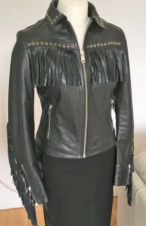 Diesel Biker Jacket black-silver-colored leather