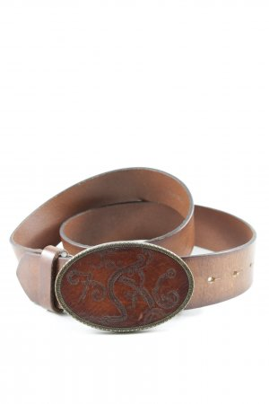 Diesel Leather Belt cognac-coloured country style
