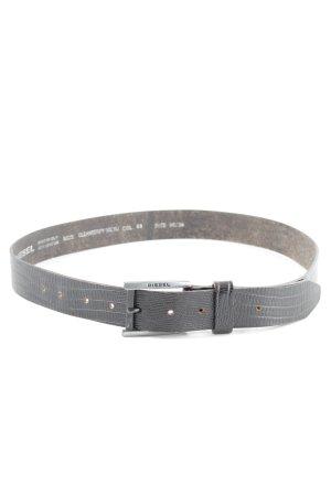 Diesel Cintura di pelle grigio chiaro motivo animale stile casual