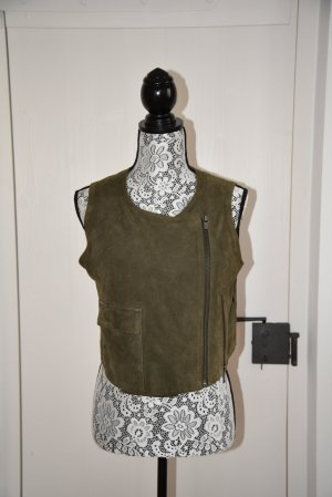 Diesel Black Gold Leather Vest green grey leather
