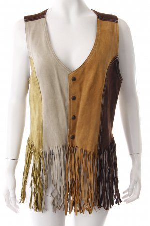 Diesel Leather Vest fringe colorful