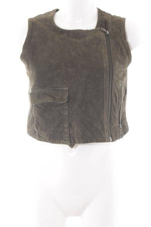 Diesel Leather Vest green grey casual look