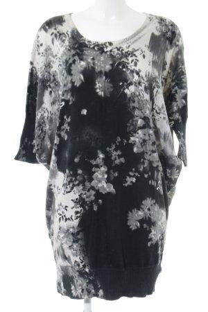Diesel Jersey largo negro-blanco estampado floral estilo sencillo