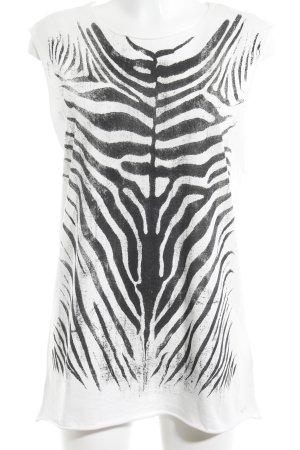 Diesel Top long blanc cassé-noir motif animal style patineur