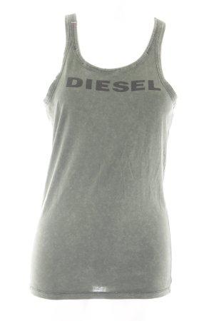 Diesel Muskelshirt khaki Schriftzug gedruckt Casual-Look