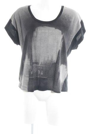 Diesel Oversized Shirt schwarz-hellgrau Motivdruck Casual-Look