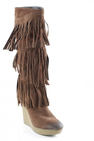 Diesel Platform Boots brown-light brown Aztec print