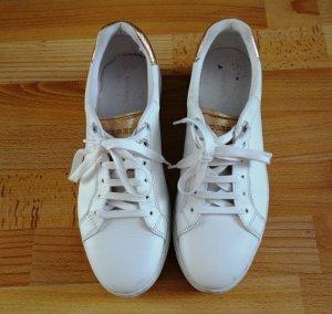 DIESEL Platform Plateu Sneaker weiß gold Gr. 40 Leder Schnürschuhe Street Wear