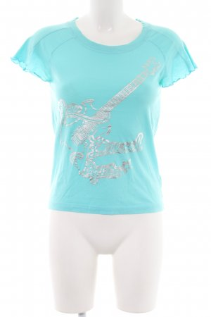 Diesel Ribbed Shirt turquoise-light grey themed print casual look