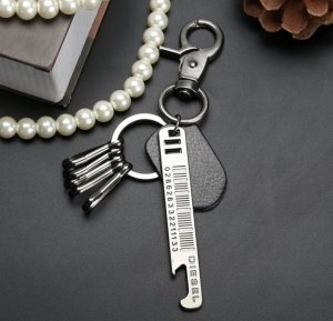 Diesel Key Chain black-silver-colored