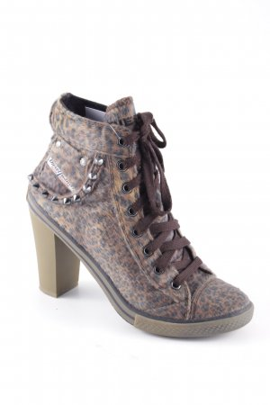 Diesel Lace-up Booties leopard pattern animal print