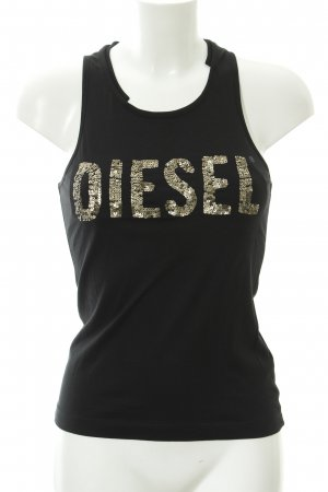 Diesel Off the shoulder top zwart-brons wetlook