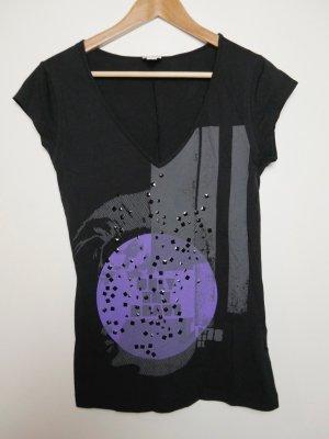 Diesel Camisa con cuello V negro-violeta oscuro Algodón