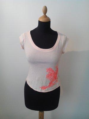 Diesel Shirt Vogel Bird Pfau rose apricot neon pink Jersey fein