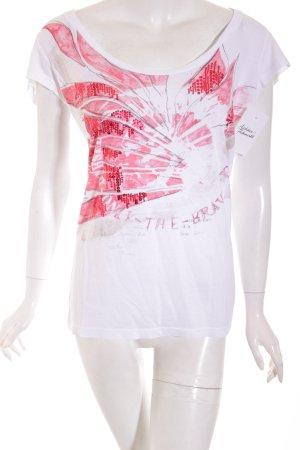 Diesel Shirt weiß-neonrot florales Muster Casual-Look