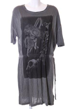 Diesel Shirtkleid hellgrau-schwarz Motivdruck Casual-Look