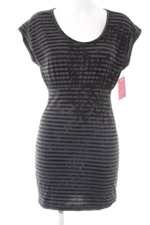 Diesel Shirtkleid schwarz-grau Streifenmuster Casual-Look
