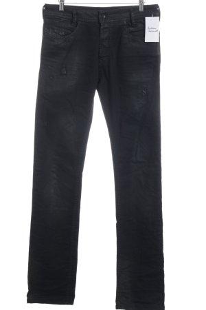 Diesel Slim Jeans schwarz Biker-Look