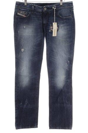 Diesel Straight-Leg Jeans dunkelblau-stahlblau Destroy-Optik